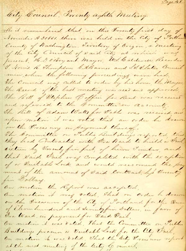 1851 Minutes page on jail construction