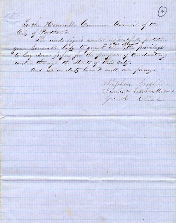 1856 Petition to install water main