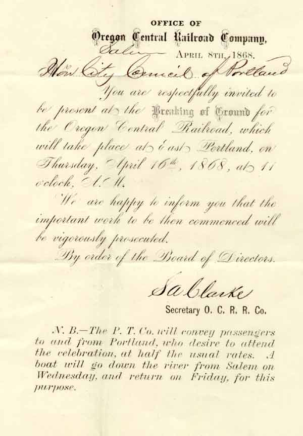 1868 Invitation to railroad groundbreaking