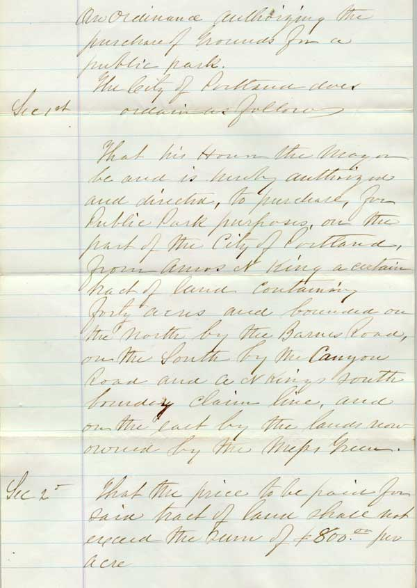 1871 Ordinance 917 authorizing Washington Park purchase