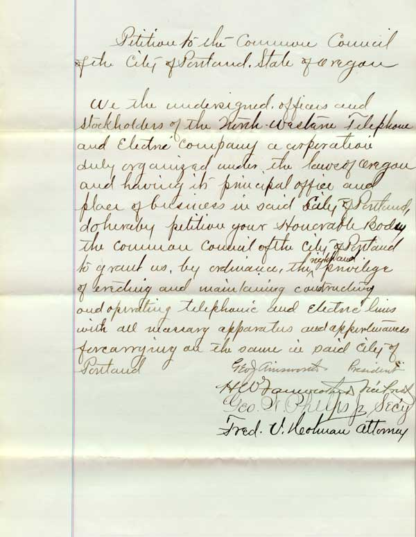 1879 Request to install telephone lines