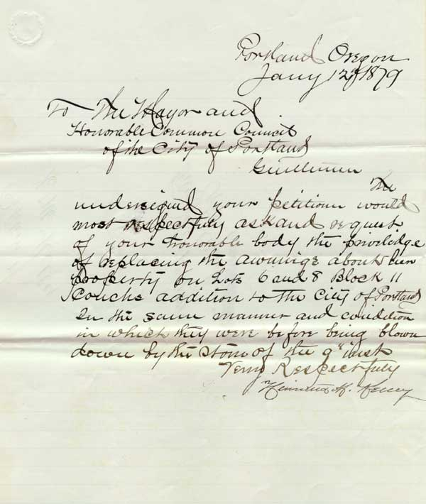 1880 request to install awnings after storm