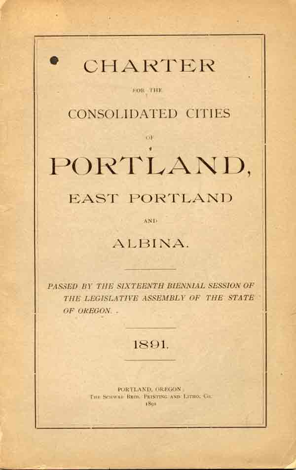 1891 Cover of Charter for Consolidated Cities