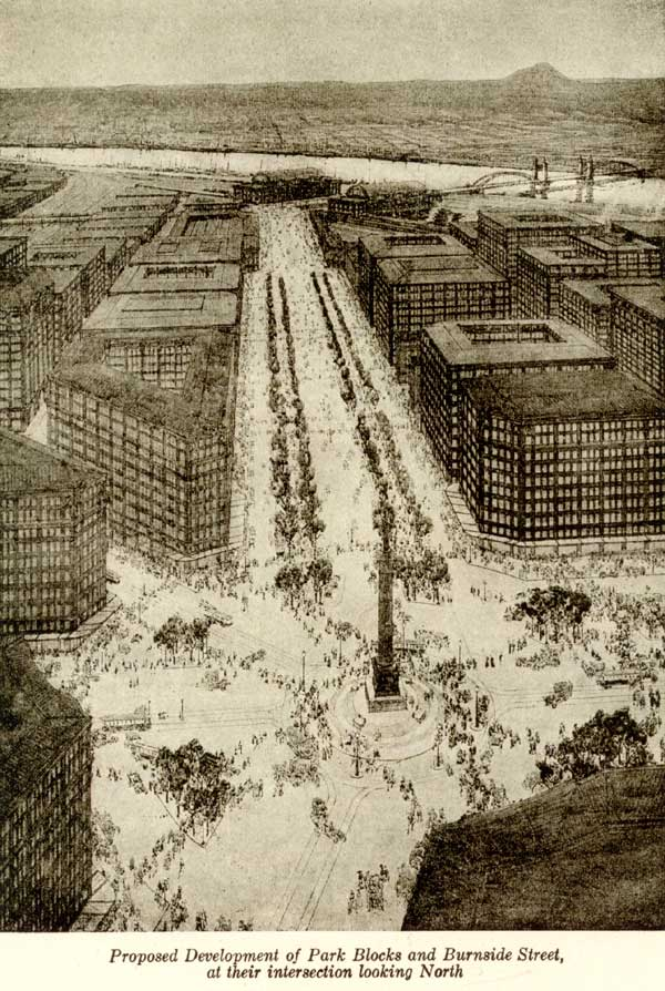 1912 Bennet Plan proposal for Park Blocks and Burnside
