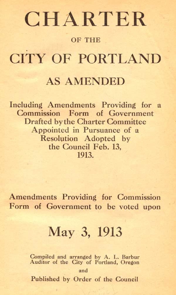 1913 Proposed 1913 Charter cover