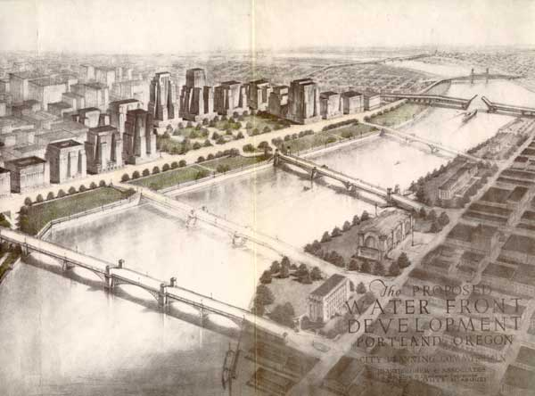 1932 Bartholomew Report frontispiece: river, bridges, downtown