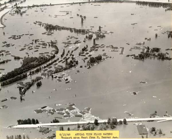 1948 Aerial of Vanport flooded