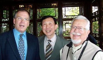Commissioner Nick Fish joined former Portland Mayor Bud Clark at the 10th anniversary celebration of the Classical Chinese Garden on June 7, 2009.