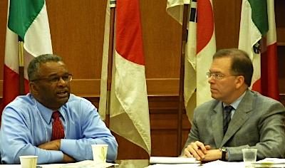 HUD Deputy-Secretary Ron Sims with Portland City Commissioner Nick Fish
