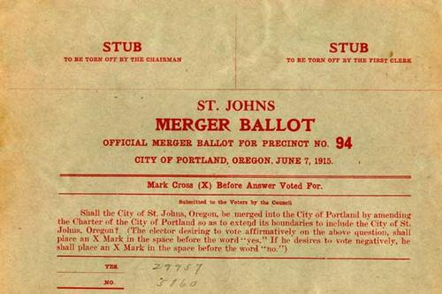 1915 St. Johns merger ballot