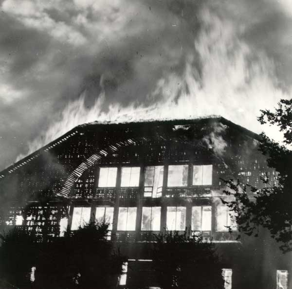 1964 Forestry Building burning