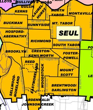 Map of neighborhoods in Southeast Coalition of Neighborhoods service area