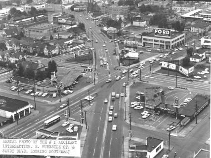 Intersection at E Burnside, Sandy & 12th in 1958
