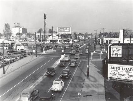 Intersection at E Burnside, Sandy & 12th in 1939