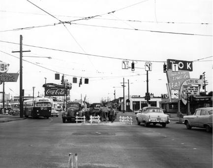 Intersection at E Burnside, Sandy & 12th in 1963