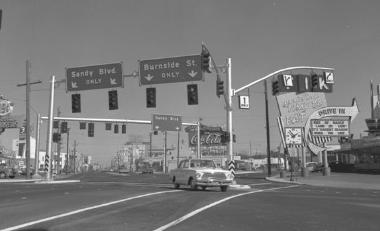 Intersection at E Burnside, Sandy & 12th in 1965