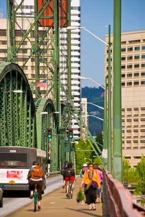 Commuters on Hawthorne Bridge