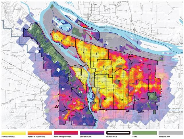 """Heat"" map of Portland's 20-min neighborhoods"