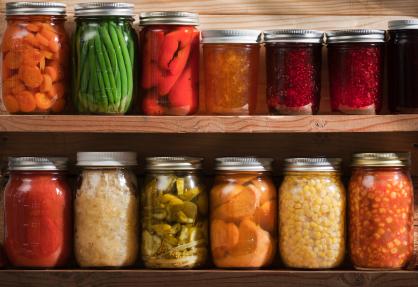 Jars of home canned foods