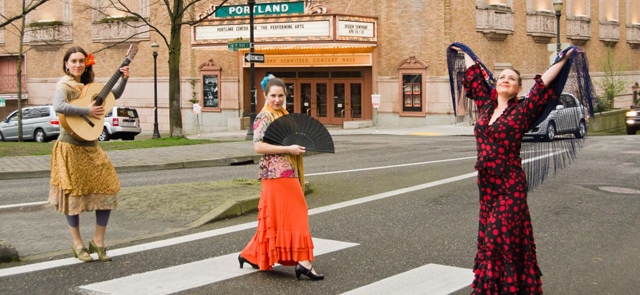 Woman dressed in costume in crosswalk